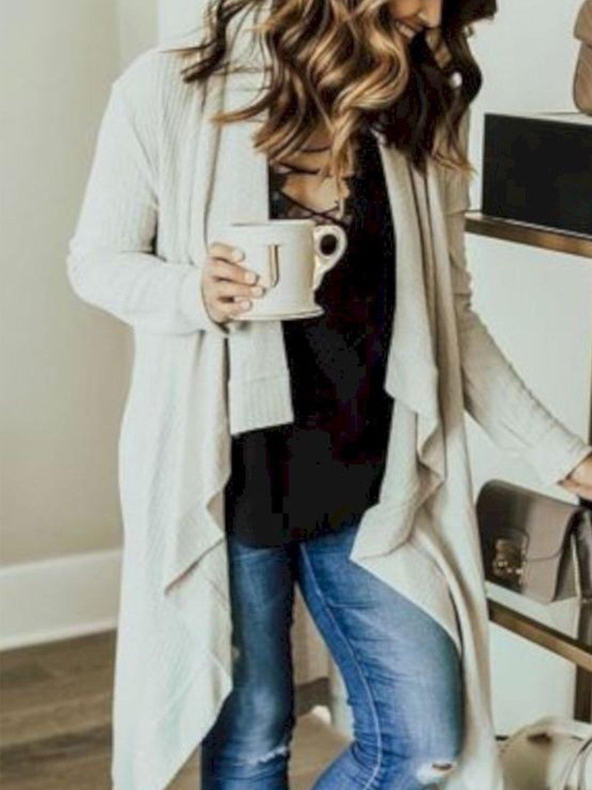 Plus Size Long Sleeve Casual Plain Cardigan Outerwear