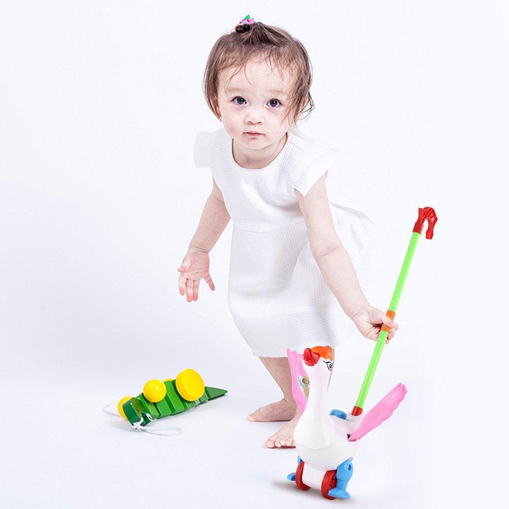 Hand Push Animal Toy Goose Shape Cartoon Cart Toys Baby/Toddler/Child Walking