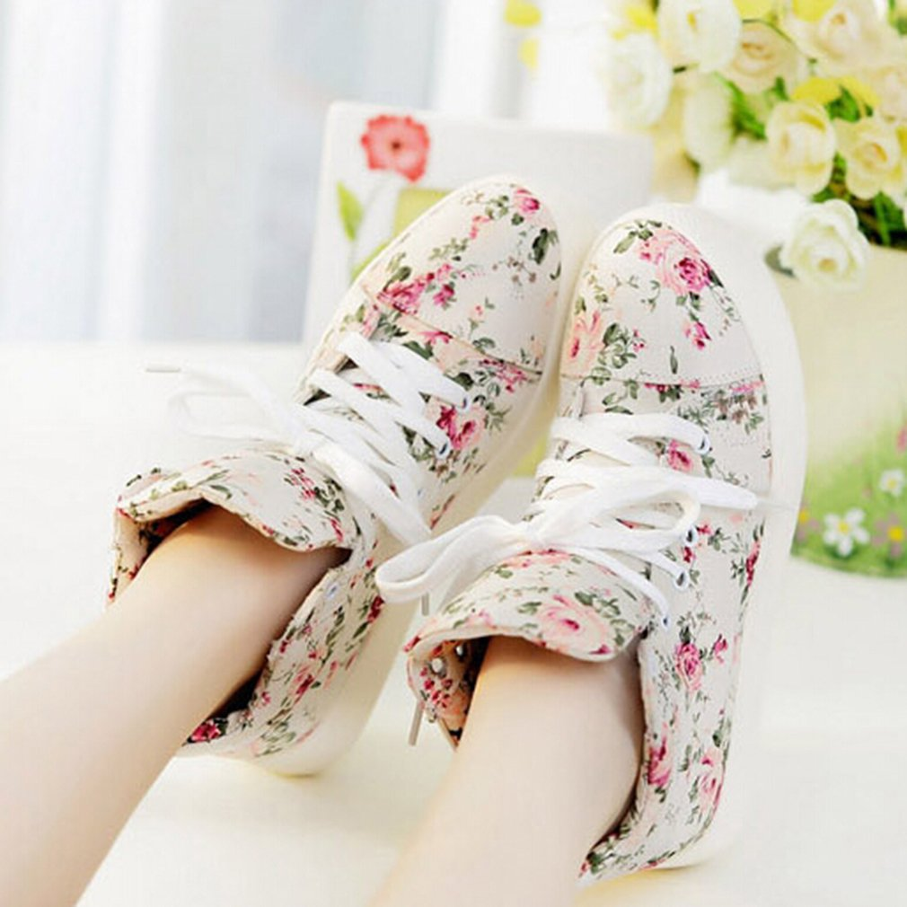 Women Floral Canvas Shoes Vintage Lace Up Flower Print Punk Flats High Top