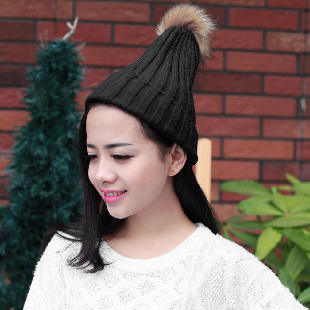 Warm Imitation Rabbit Fur Rolling Side Candy Colors Wool Hat Knitted Cap