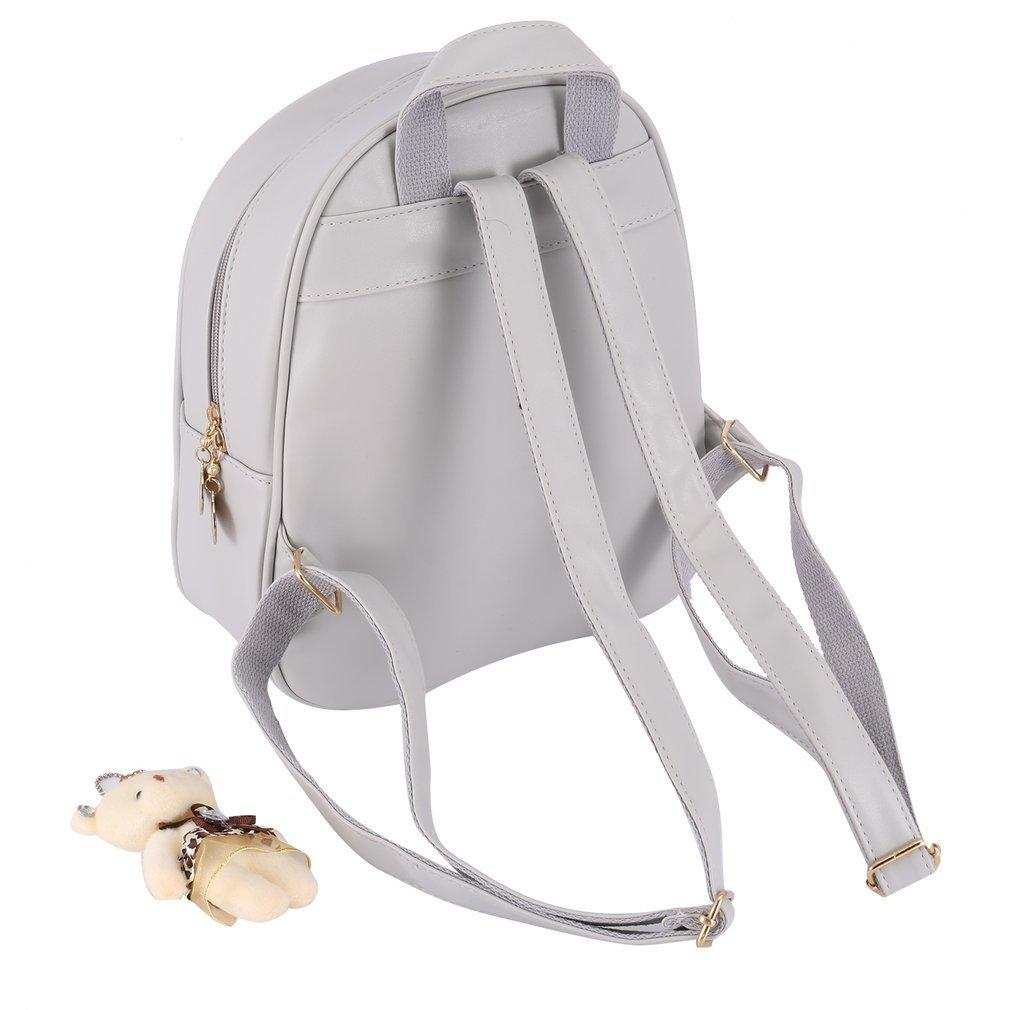 4Pcs Fashion Women Backpack With Tassels Bear Doll Decoration Tote Single Shoulder Bag Handbag Card Purse Wallet Bag