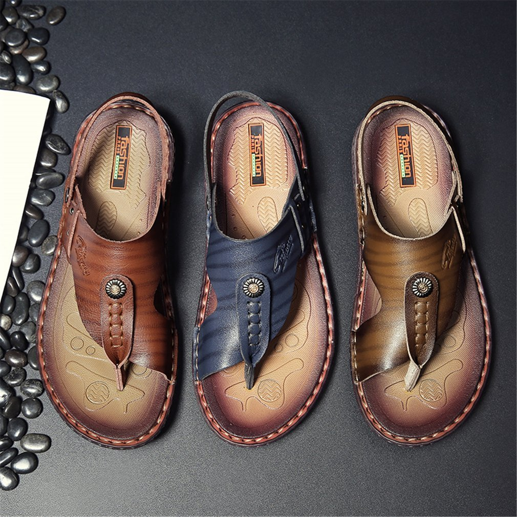 Fashion Summer Anti-slip Sole Soft Leather Man Sandal Slip-on Slippers Breathable Hollow All-match Style Outdoor Beach Shoes