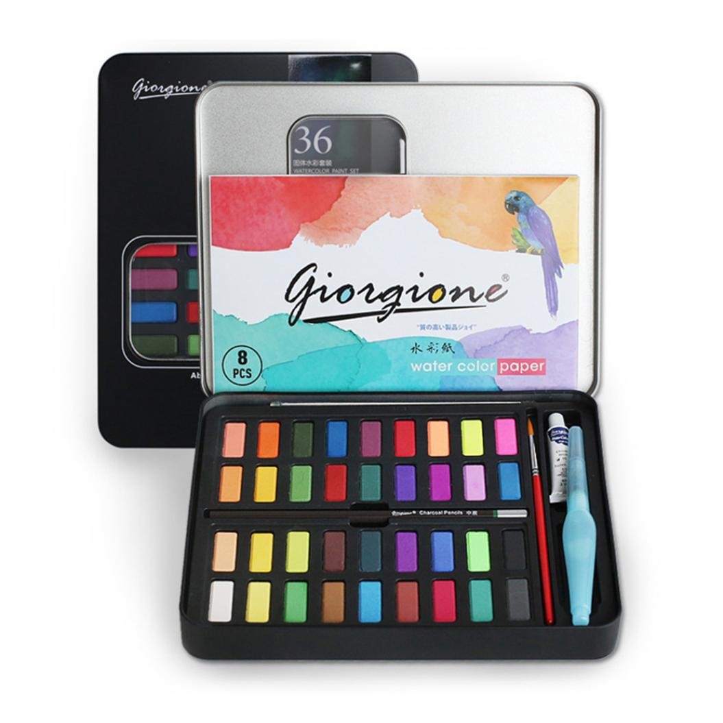 36 Color Solid Watercolor Painting Drawing Pigment Kids Art Paint Brush Set