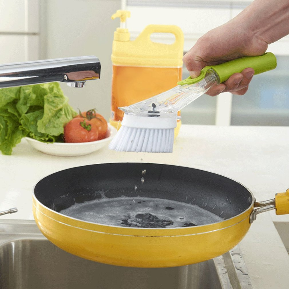 Long Handle Design Washing Dishes Brush Non-Stick Oil Pot Can Cleaning Brush