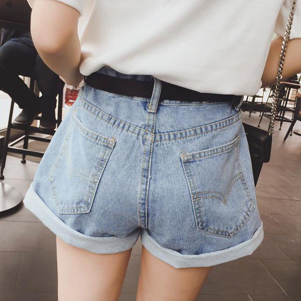 Girls Harajuku Style Students Denim Shorts Casual Light-colored Short Pants