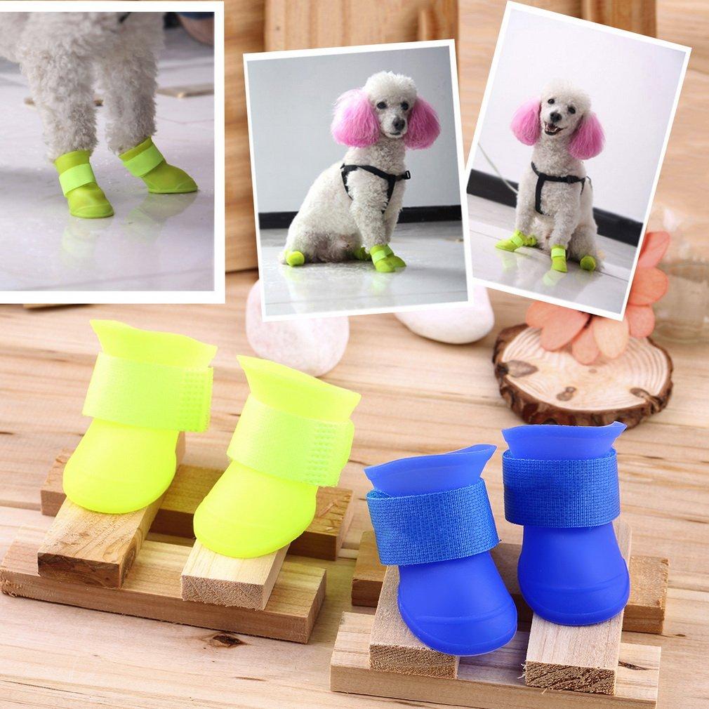 4PCS Pets Cat Dog Puppy Rain Boots Shoes PVC Anti-slip Waterproof Booties