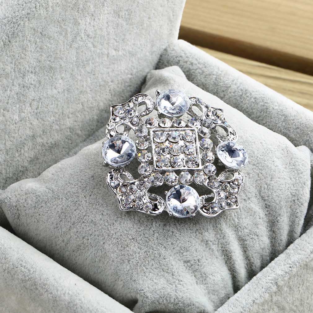 Geometric Round Brooch Crystal Rhinestones wedding party Bridal New