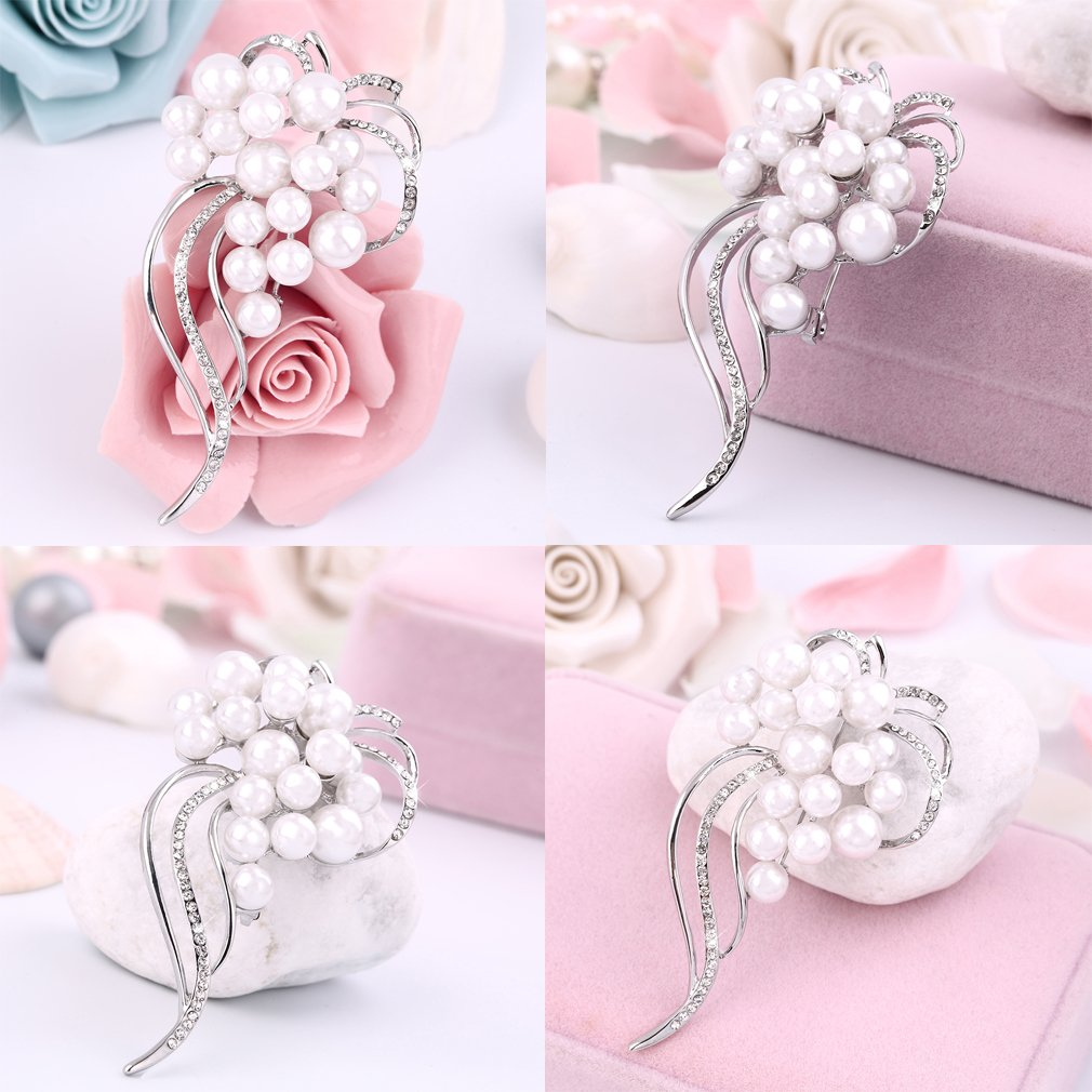Elegant Charm Silver Crystal Unique Shape Brooch Present Accessory Present