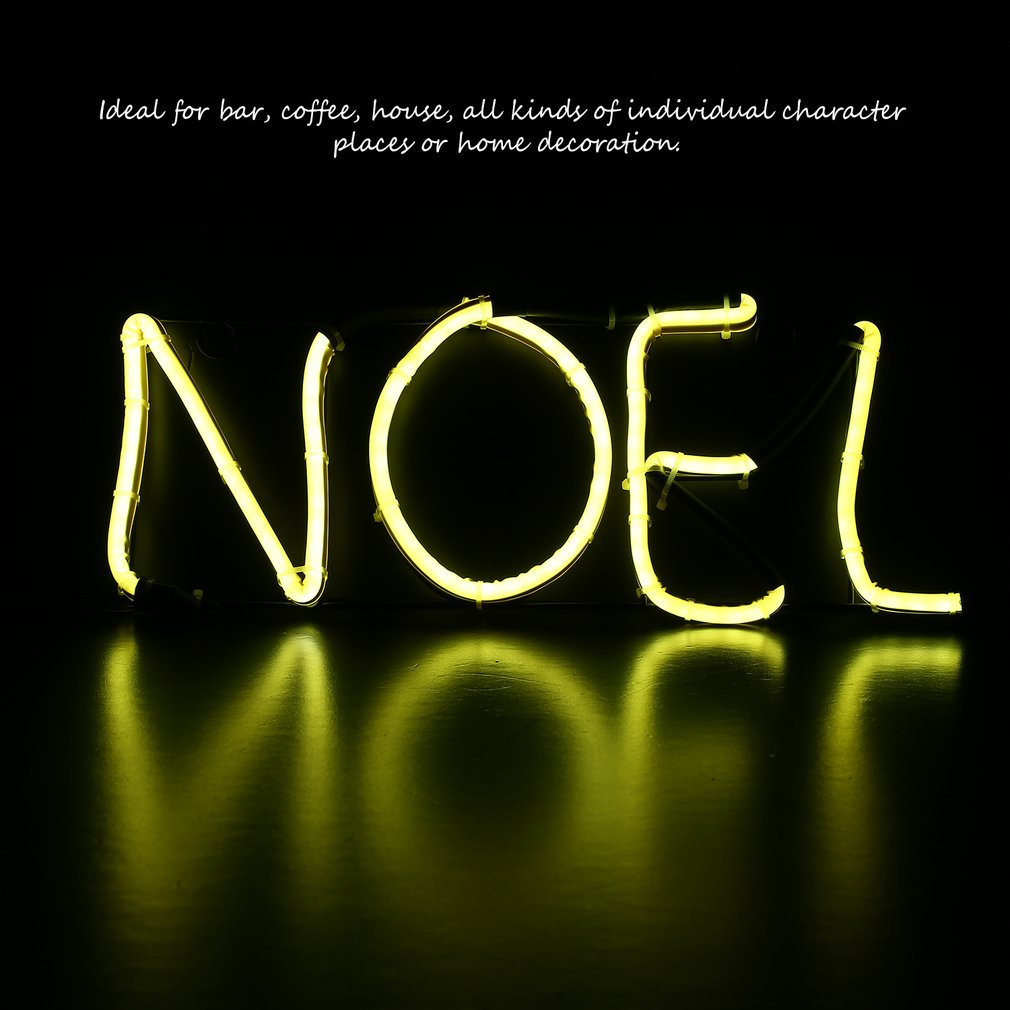 Neon Sign Light NOEL Alphabet Coffee Bar Room Wall Decoration Ornament Crafts