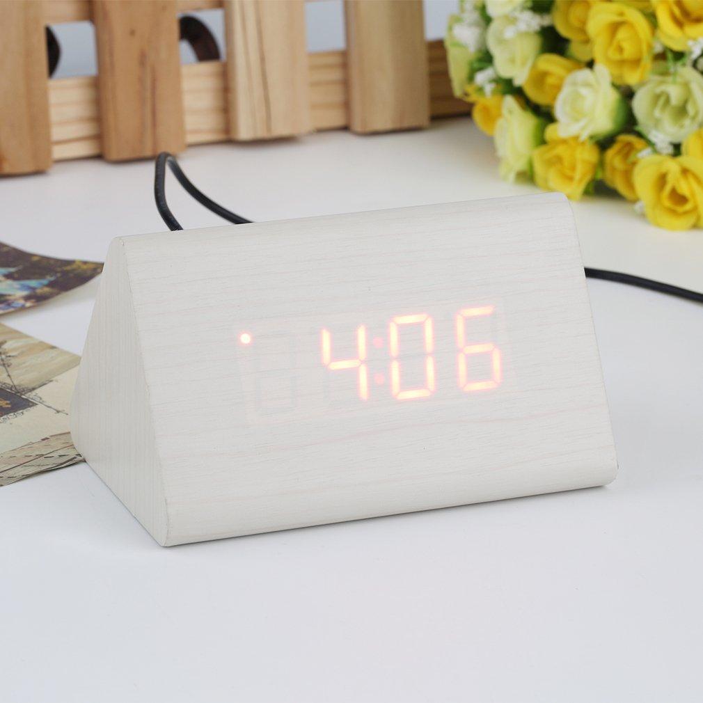 Triangular LED Sound Control Wooden Alarm Clock Thermometer Calendar Timer