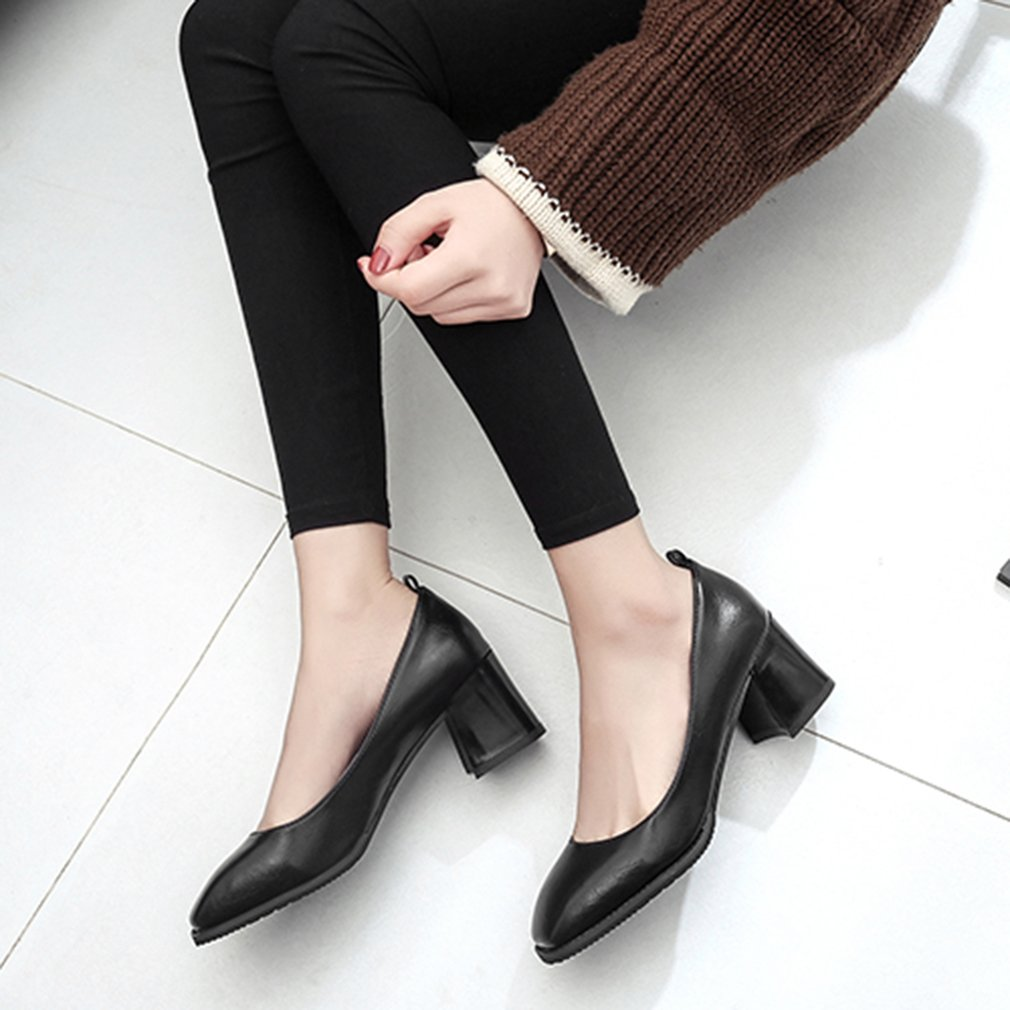 Women All Match Clothes Shoes PU Leather Ladies Square Toe Middle Heels Shoes