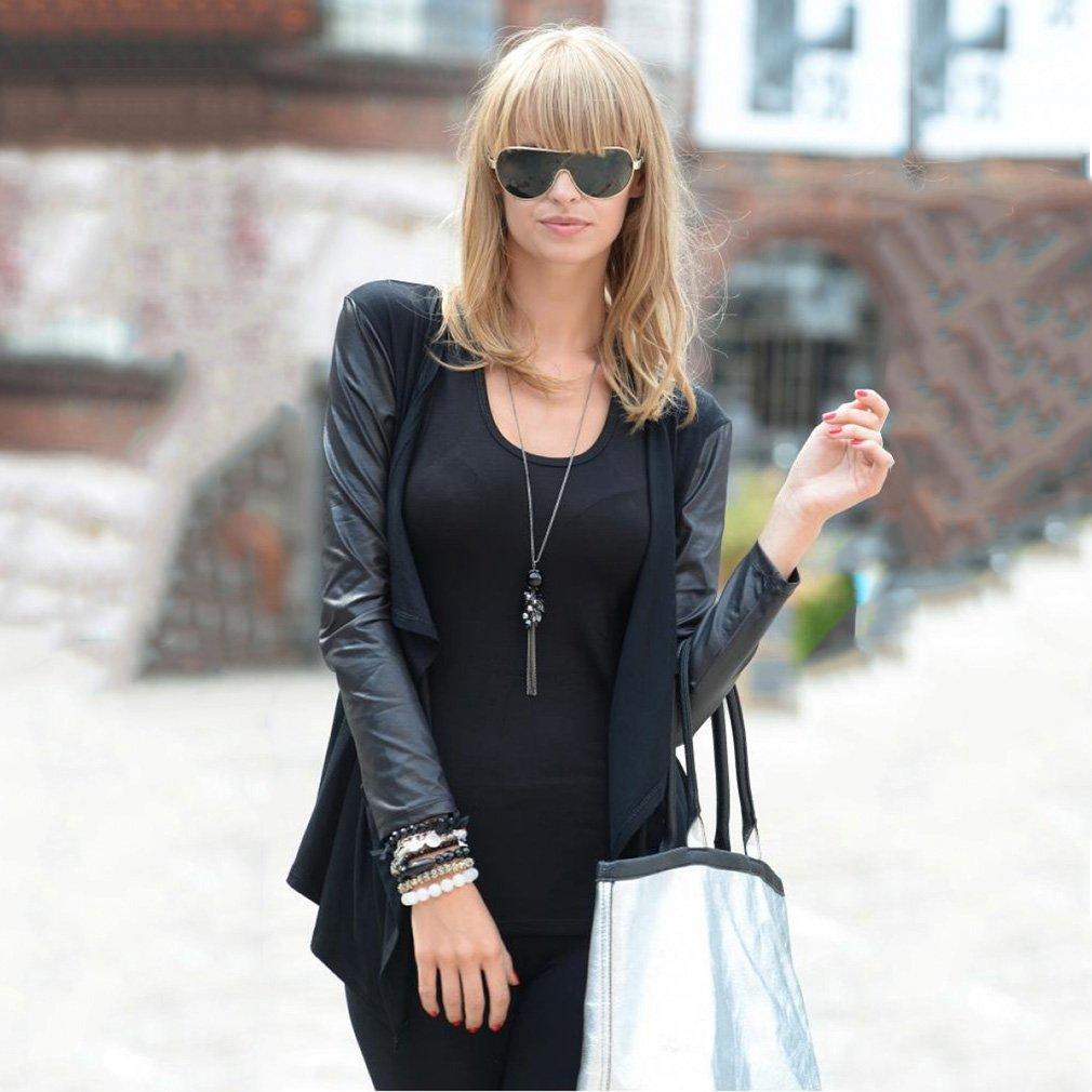 Women Autumn Irregular PU Leather Long Sleeve Jacket Slim Short Coat Outwear