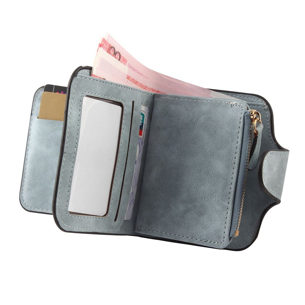 Solid Color Multi Card Position Wallet with Soft PU Matte Leather for Female