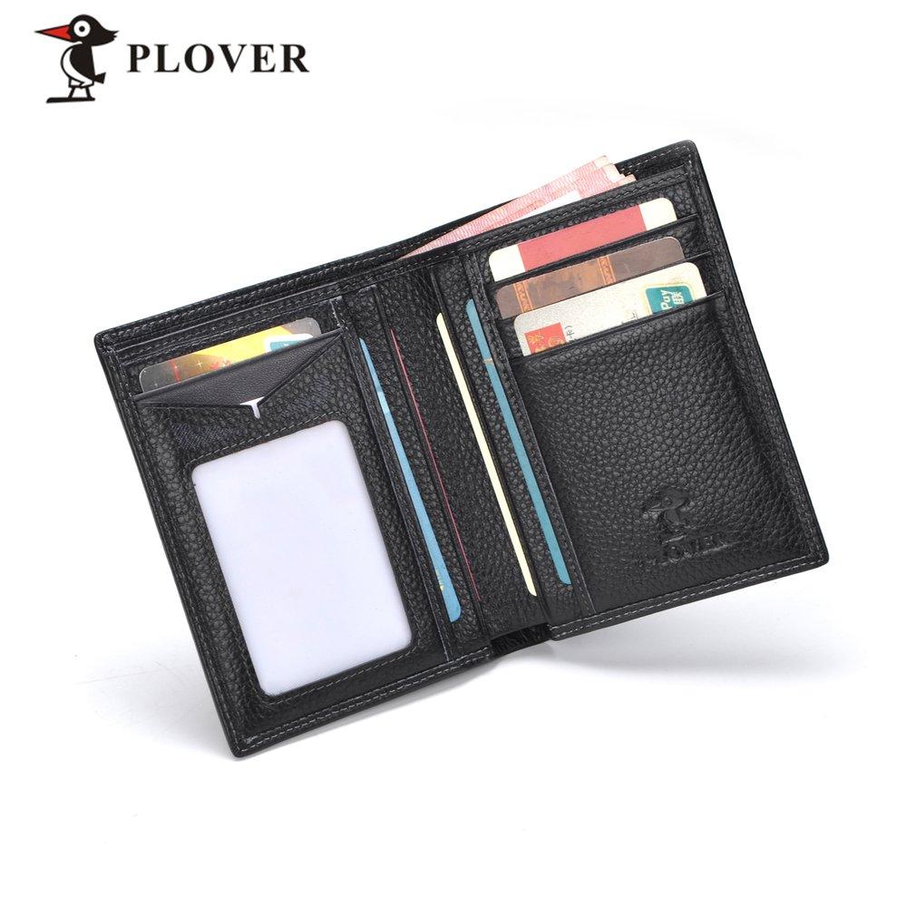 PLOVER GD5921-7A Multifunctional Business Type Men Short Wallet Solid Black