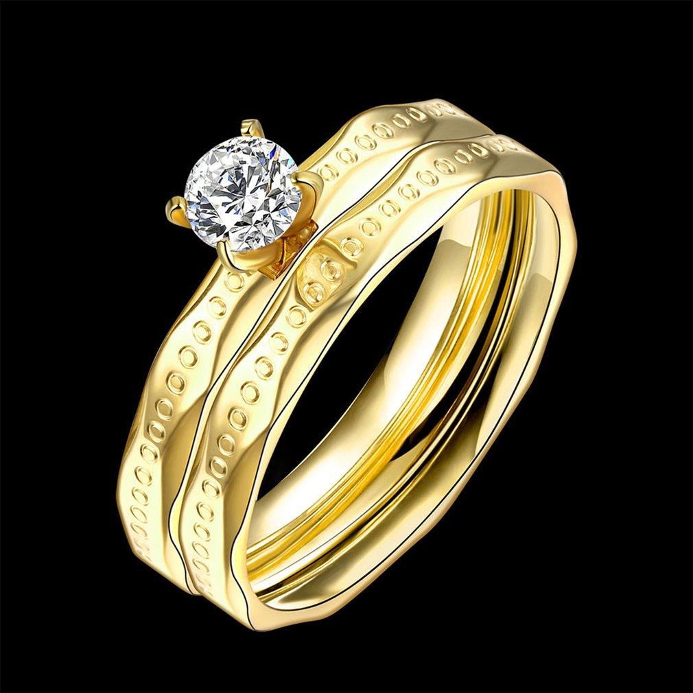 Titanium Steel Women Ring European American Elegant Design Female Ladies Wedding Band Finger Ring With Big Zircon