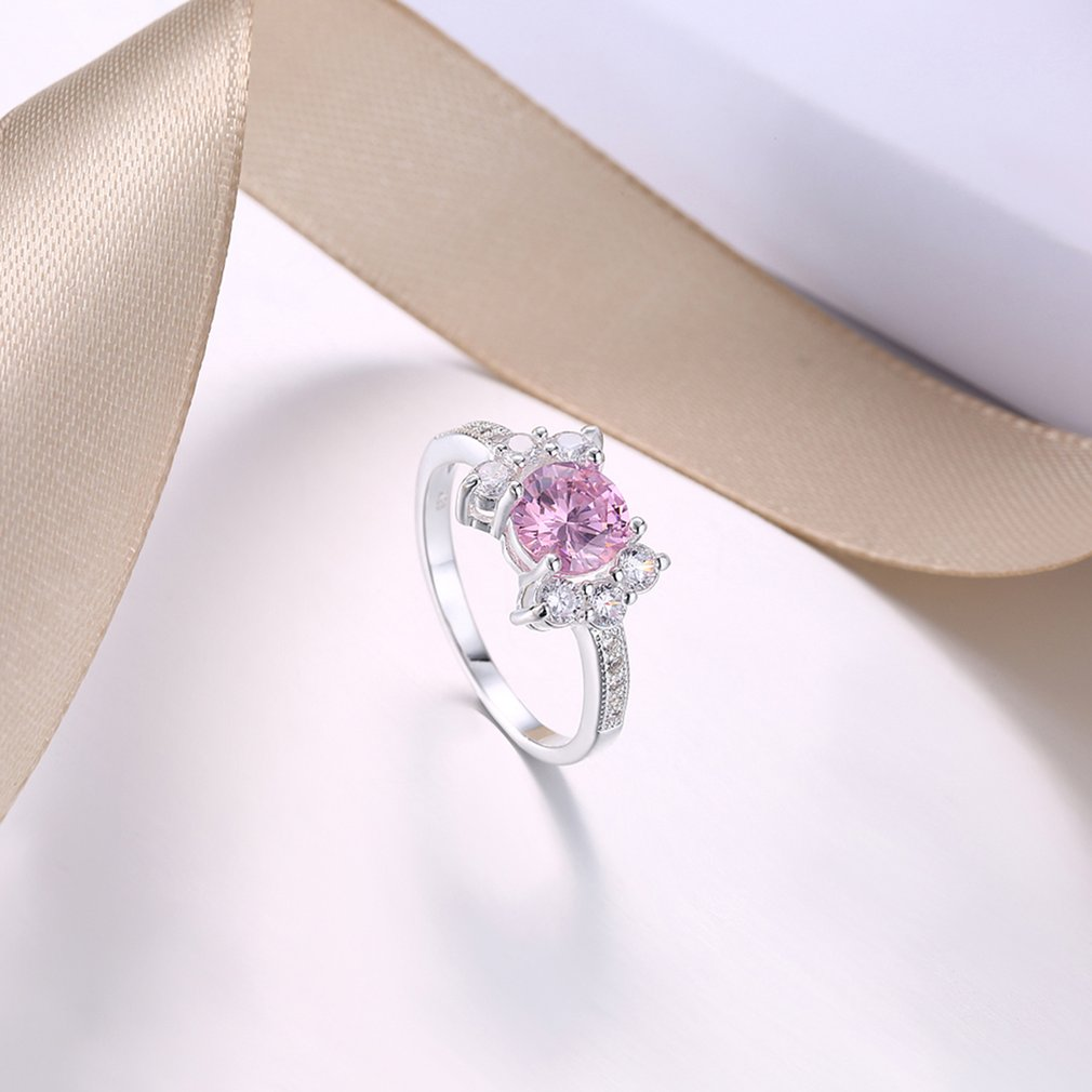 Fashion Pink Zircon Engagement Rings for Female Elegant Finger Ring Jewelry