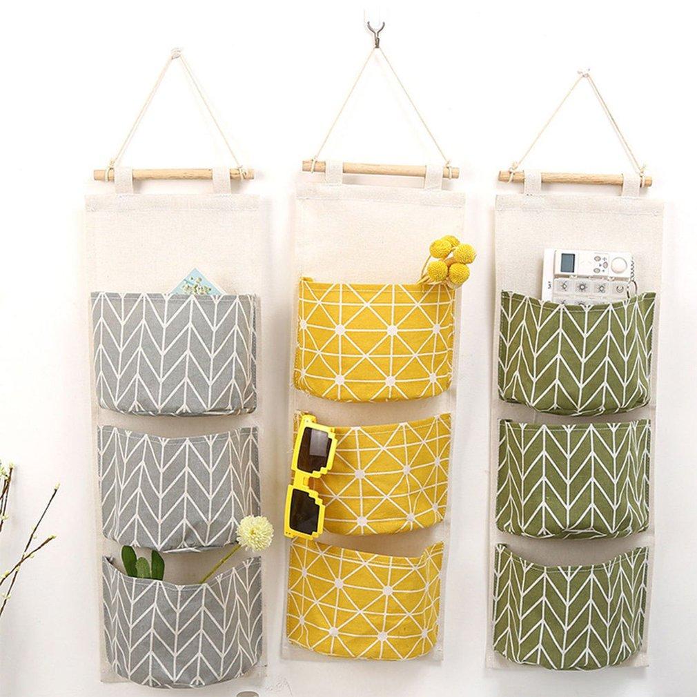 3 Grids Wall Hanging Storage Bag For Decoration Kitchen Bathroom Living Room