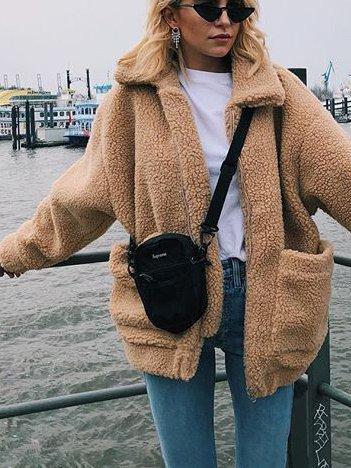 Khaki Turn-Down Collar Solid Vintage Cotton-Blend Outerwear