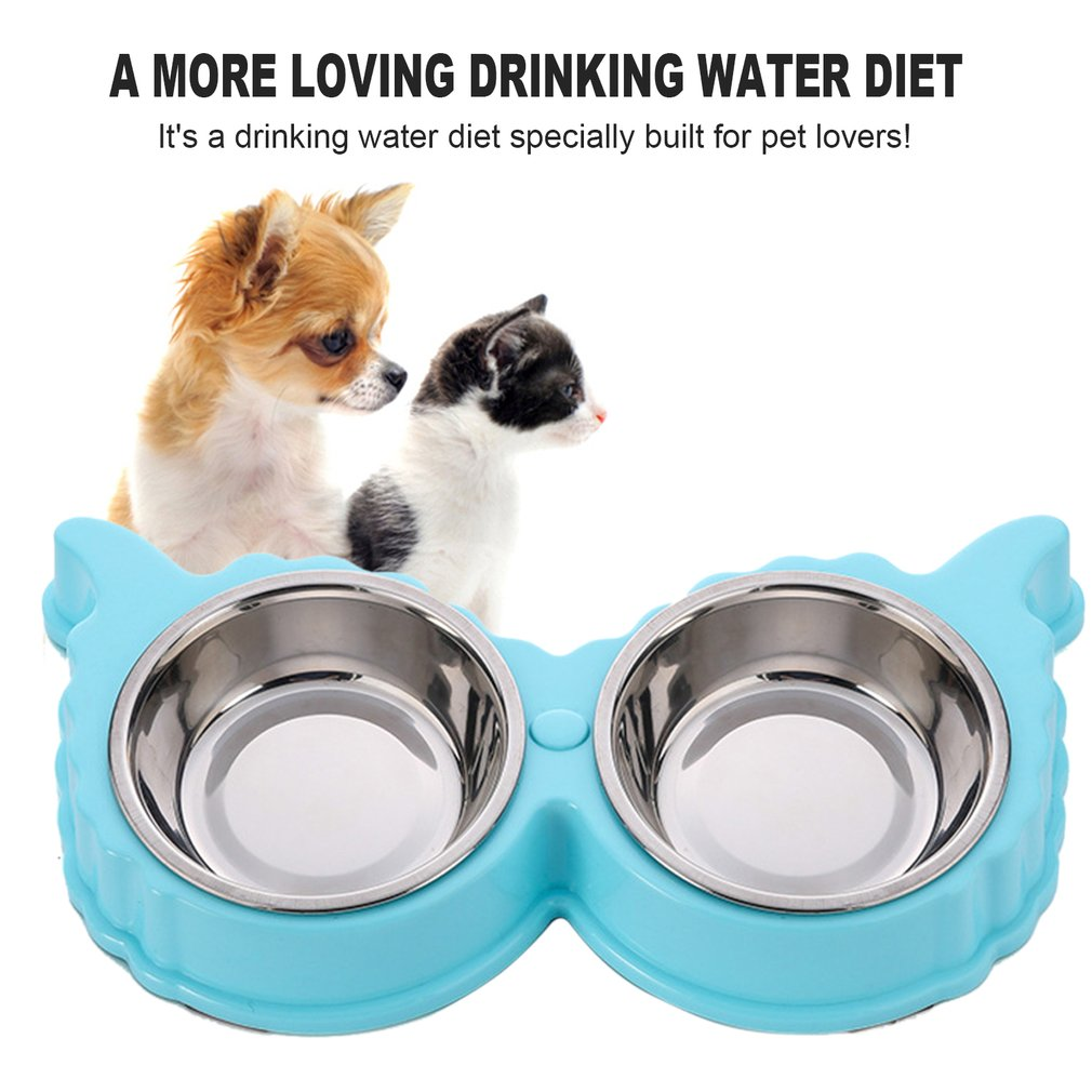 Sheep Shape Resin Stainless Steel Combo Dog Bowl Anti-skid Double Pet Bowls
