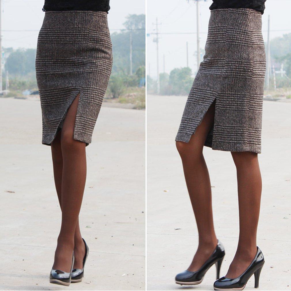 Fashion Plaid Skirt High Waist Slit Skirt Slimming Knee Length Ladies Skirt