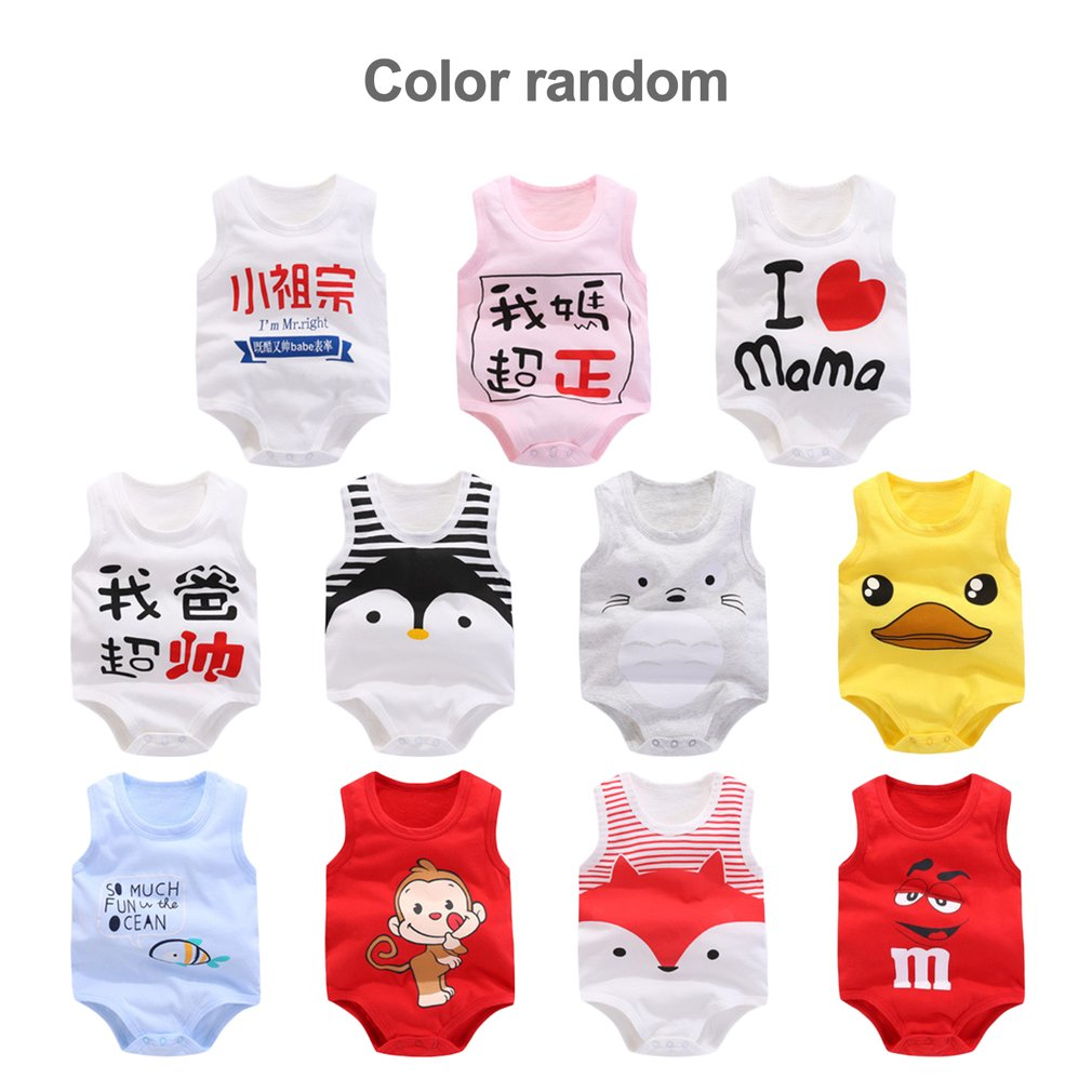 Pure Cotton Baby Outfits Sleeveless Vest Jumpsuit Girls Boys Romper Clothes