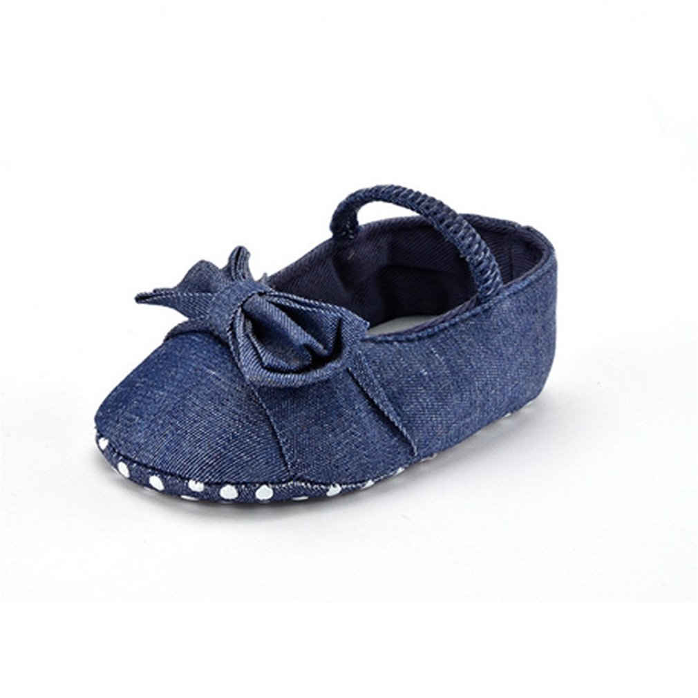 Fashion Solid Color Denim Baby Shoes Soft Anti-slip Sole Prewalker Shoes with Elastic Closure & Bowknot Decor for Indoor Wear