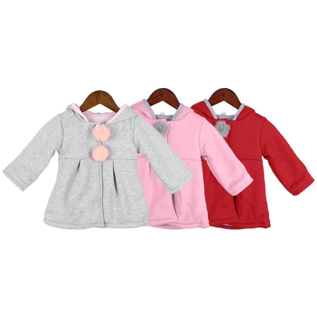 Infant Baby Girls Long Sleeves Soft Cotton Coat Cartoon-shaped Warm Hooded Outerwear Single Breasted Top Overcoat