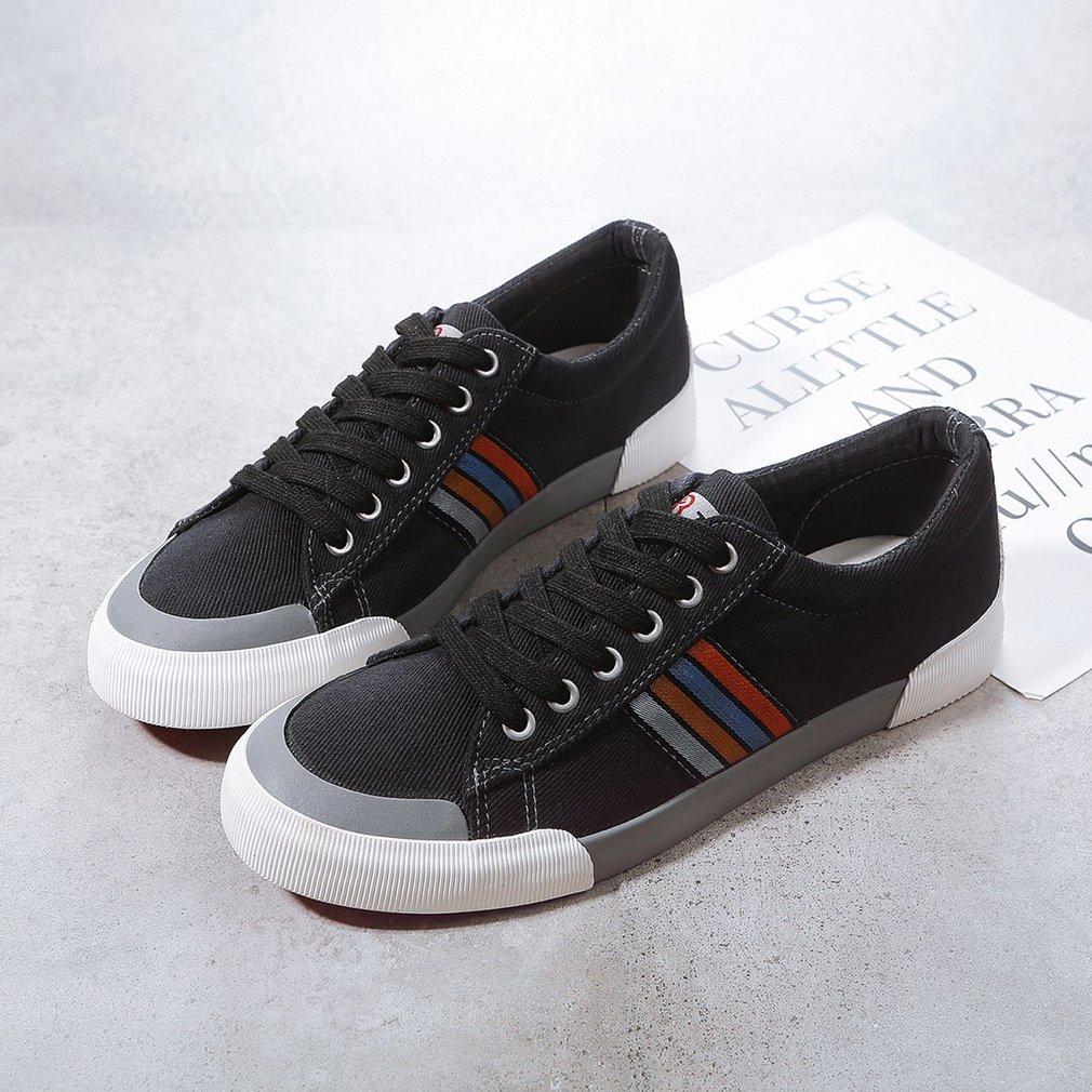 Renben 7586 Color Blocking Low-cut Canvas Flat Shoes with Wide Oblique Fringe