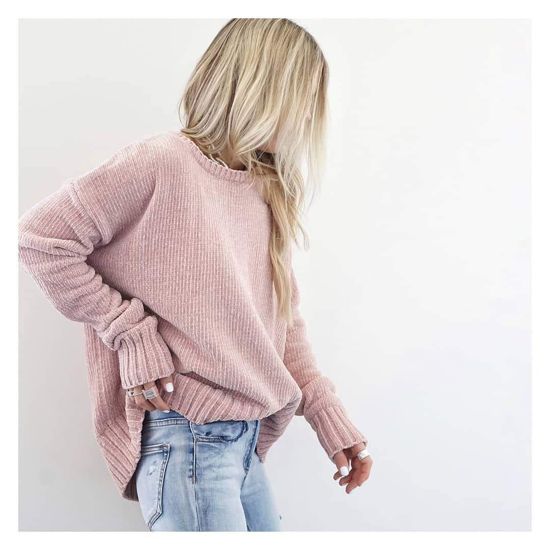 Women's Casual Round Neck Long Sleeve Pure Color Sweater