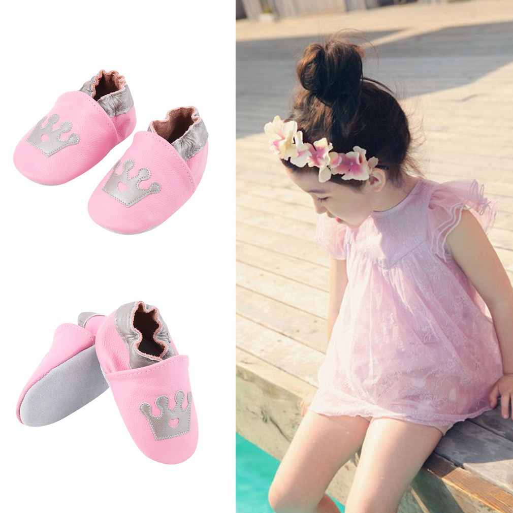 Cute Soft PU Leather Princess Crown Pattern Babies Toddler Shoes