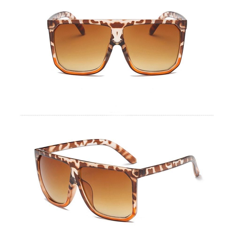 Fashion Women Sunglasses Oversize Female Flat Top Vintage Square Shape Sun Glasses UV400 Eyewear Metal Frame Resin Lens BZ414