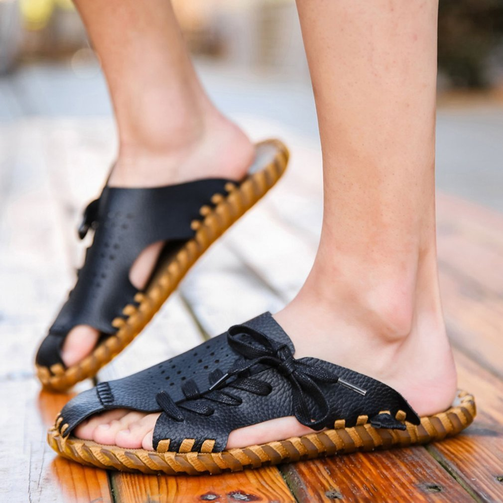 Fashion Cowhide Men Summer Slippers Casual Shoelace Decoration Male Slippers Non-slip Soft-soled Slippers Preventing Stink