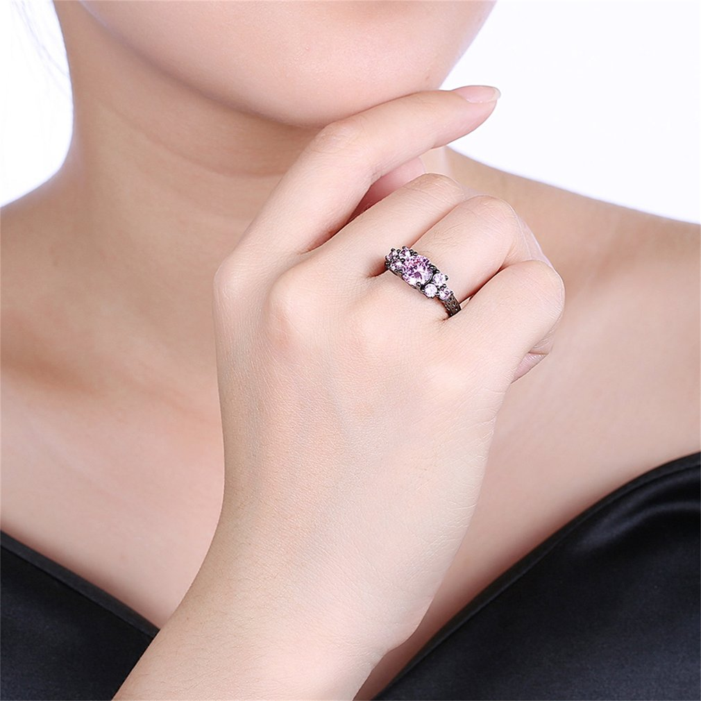 Elegant Big Round AAA Pink Zircon Decoration Women Finger Ring Jewelry