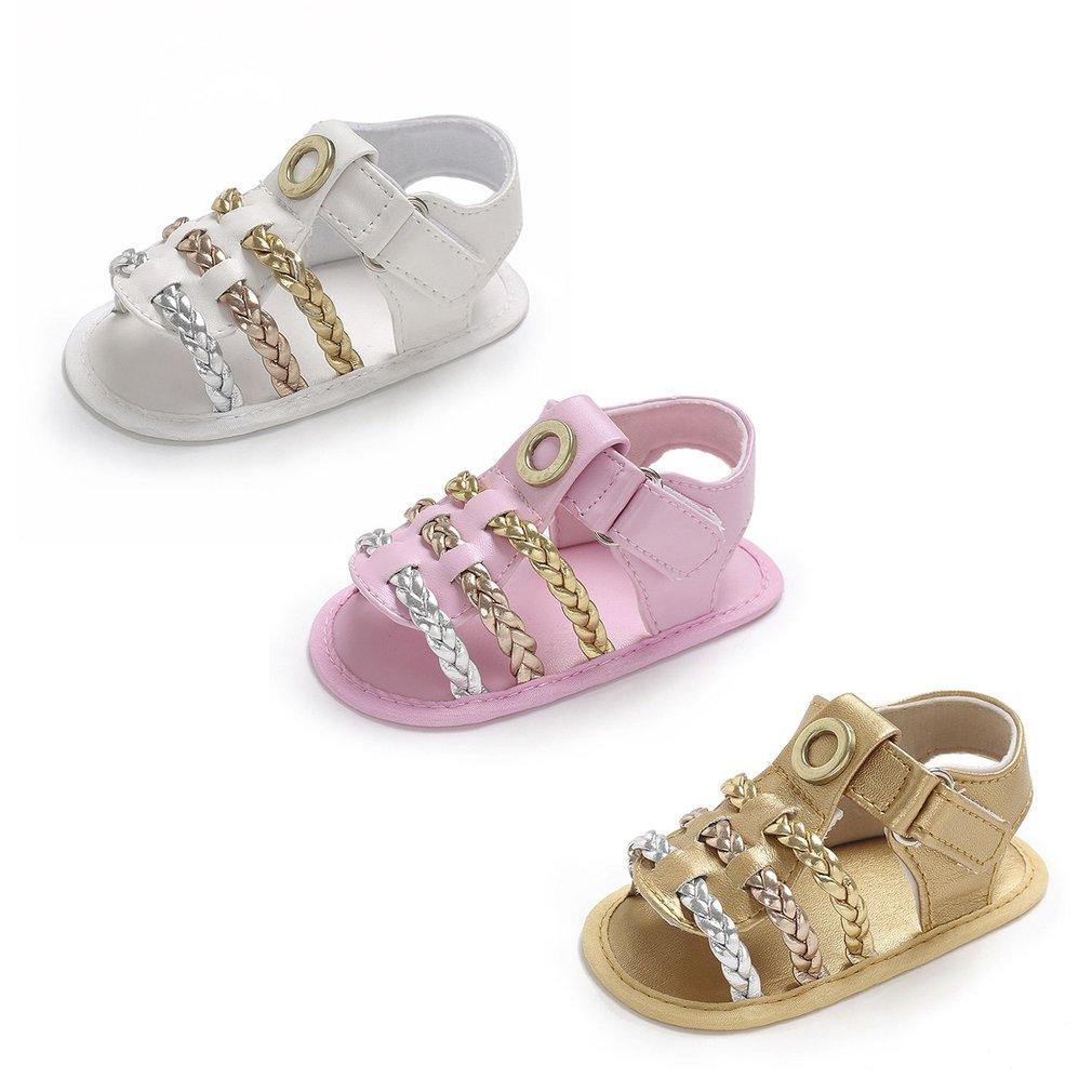 Summer Anti-slip Woven Baby Unisex Ankle-wrap Hook & Loop Tape Infant Sandals