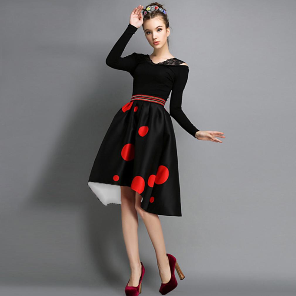 Women's Girl Black High Waist Mini Red Polka Dot Skirt Autumn Winter Slim