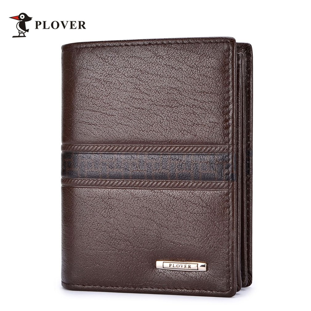 PLOVER GD5206-B Soft Durable Leather Casual Man Short Wallet Card Holder Brown