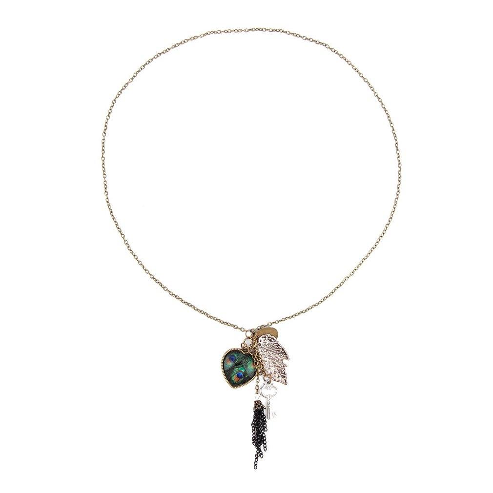 Hot Peacock Feather Leaf Key Love Heart Pendant Tassel Chain Necklace New