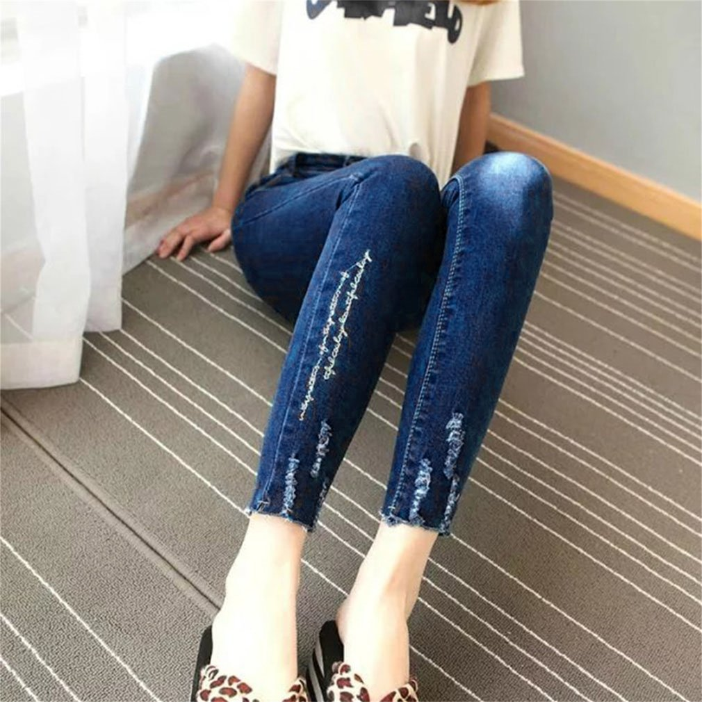 Women Spring & Summer High Waist Long Stretchy Jeans All-match Slim Trousers