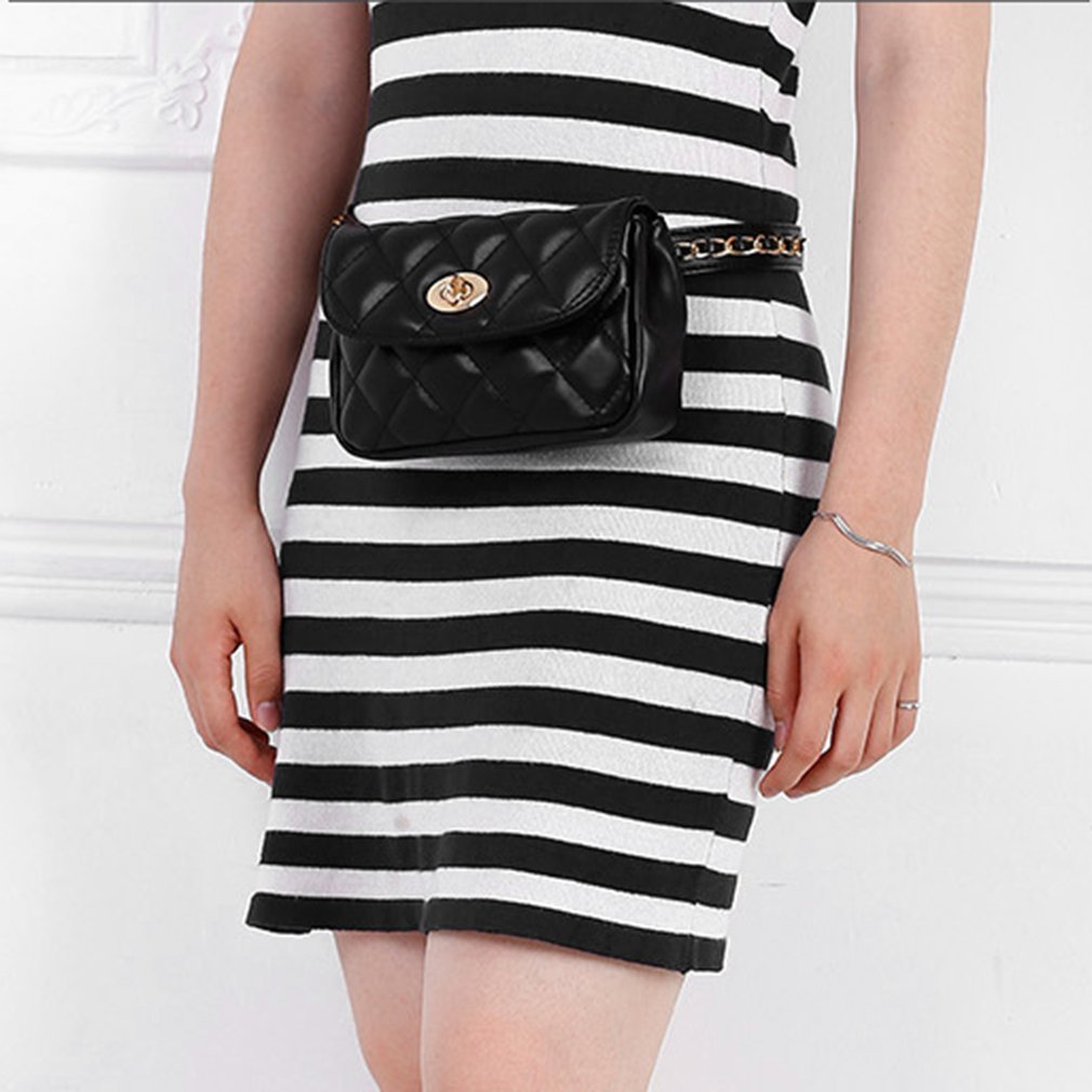 Fashion Rhombus Plaids Sewing Women Waist Bag Multifunctional Storage Bag with Adjustable Waist Strap & Exquisite Hasp
