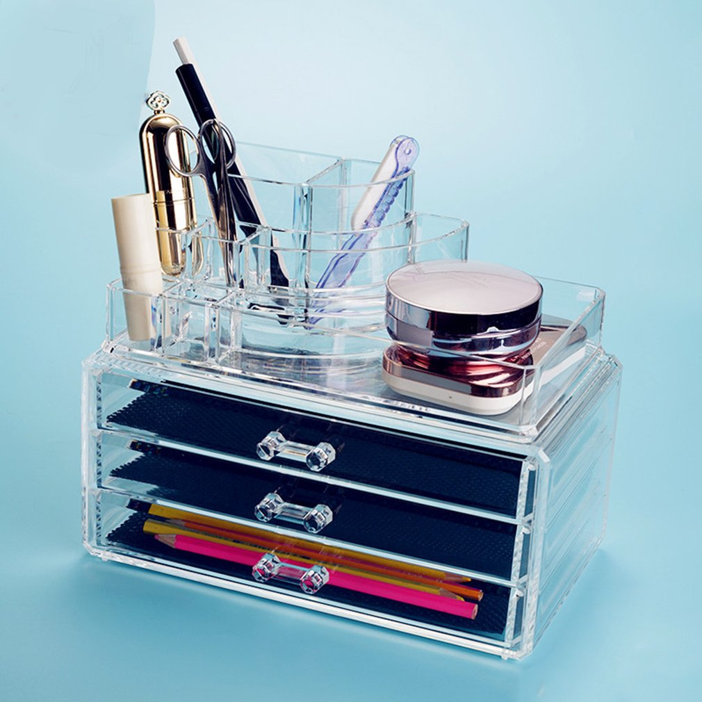 3-Drawer Storage Clear Transparent Make Up Box Organiser Cosmetic Case