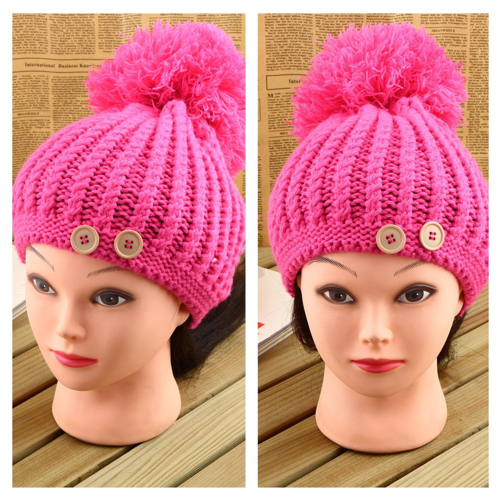Lovely Warm Winter Knitted Large Ball Pineapple Cap Beanie Hat Woman Girls New