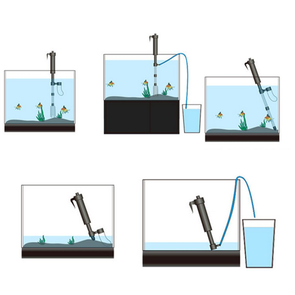 Battery Powered Foldable Aquarium Cleaner Electric Sand Washing Device Water Changer Pump Filter for Fish Tank