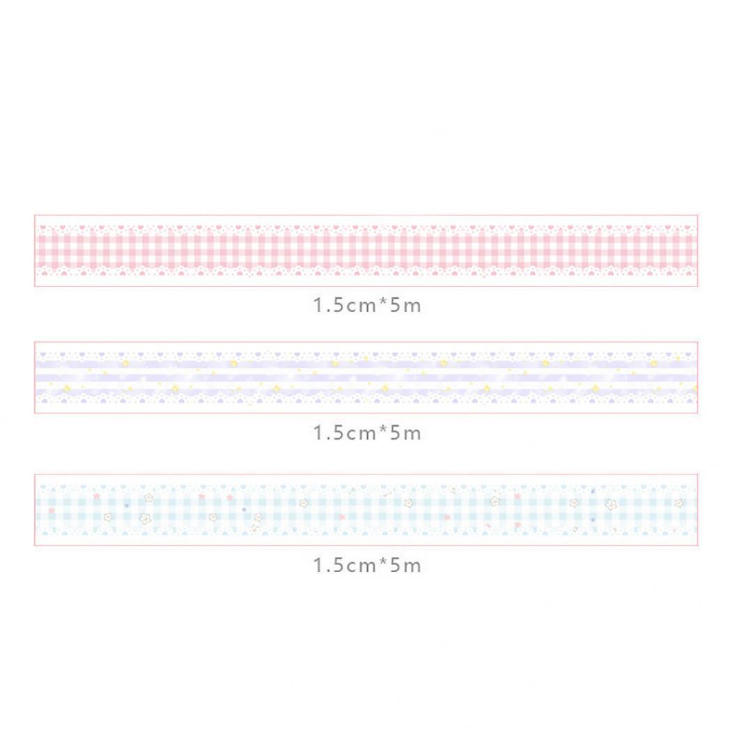 3Pcs 5m x 15mm Japanese Washi Masking Tape Roller DIY Scrapbooking Stickers