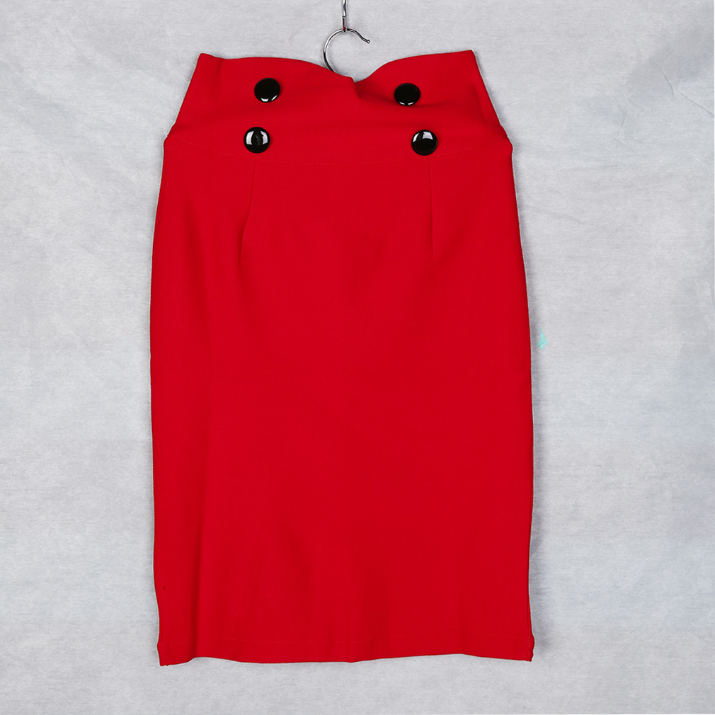 New Fashion Ladies Bodycon with Buttons Stretchy Skirt Elasticated Skirt