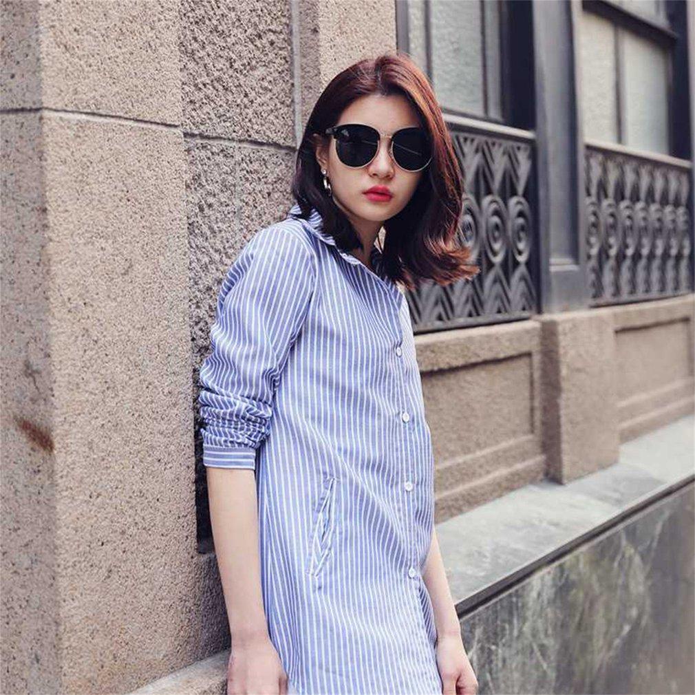 Women Striped Long Sleeve Shirt Turn-Down Collar Loose Blouse Pockets Tops