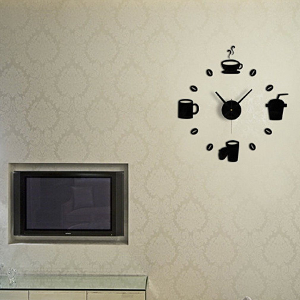 Coffee Cup&Clock Pattern Acrylic Mirror Wall Stickers Affixed Home Backdrop