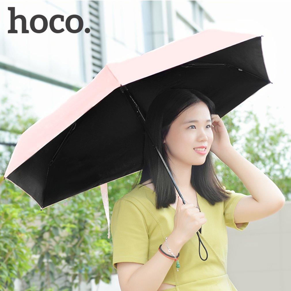 HOCO Compact Solid Color 5 Folding Wind Resistant UV Protect Rain Sun Umbrella