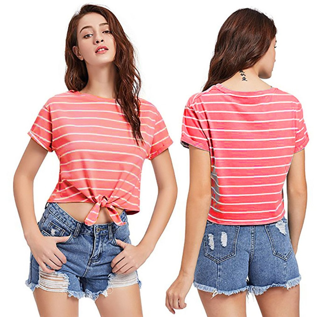 Fashion Midriff-baring Women T-shirt Striped Lady Tops Casual Round-neck Short-sleeved T-shirt Strapped Hem Girls Pullovers