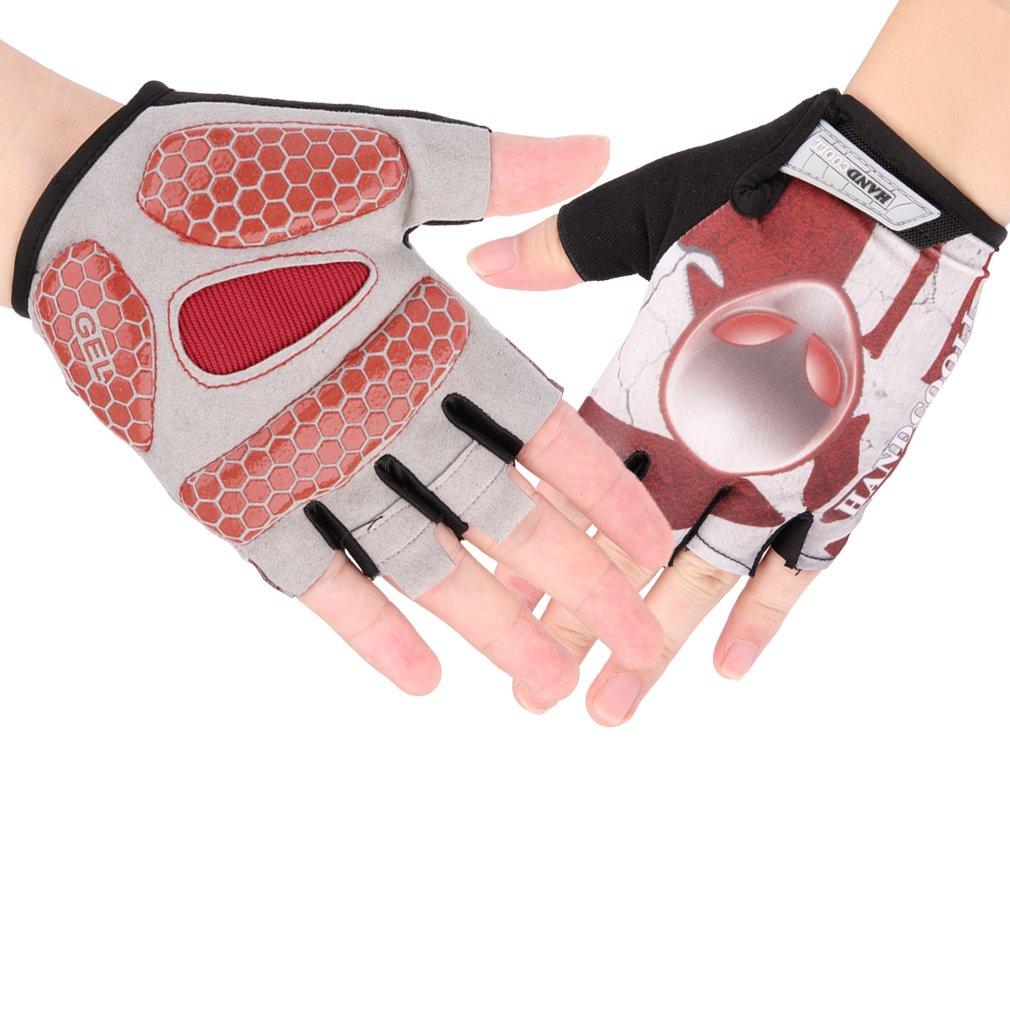 Unisex Skull Bike Bicycle Breathable Anti-slip Cycling Half Finger Gloves