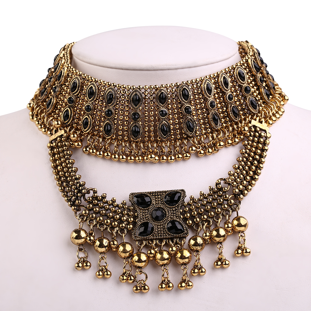 Trendy Women Multi-layer Short Style Necklace Diamond Plated Collar Necklace